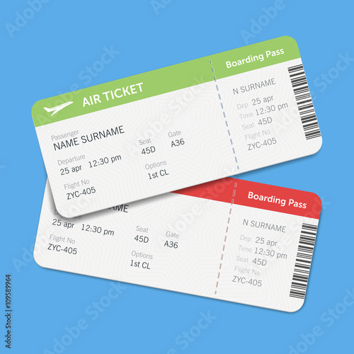 Set Of The Airline Boarding Pass Tickets With Shadow Isolated On