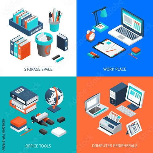 Fototapeta Office 2x2 Isometric Design Concept
