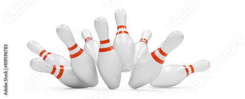Valokuvatapetti bowling strike 3D rendering, on a white background