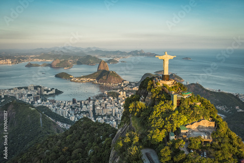 Aluminium Prints Brazil Aerial view of Christ and Botafogo Bay from high angle.