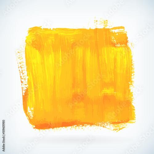 Fotografie, Obraz  Yellow paint artistic dry brush stroke vector background