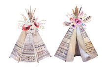 Handdrawn Watercolor  Tribal Teepee, Isolated White Campsite Ten