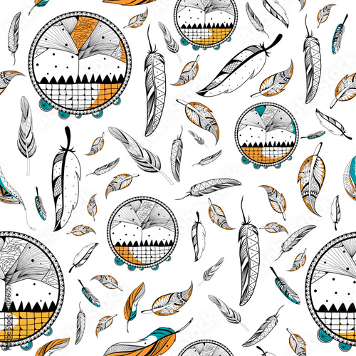 dream-catcher-in-tribal-boho-style-seamless-pattern