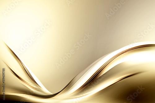 Fotobehang Fractal waves Fractal Abstract Gold Wave Design Background