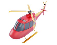 Toy Red Helicopter Isolated On White Background. 3d Render Illustration.