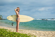 Lady with surf board