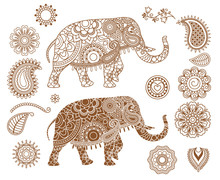 Indian Elephant With Mehendi Patterns. Hand Drawn Isolated Ethnic Henna Elephant. Vector Illustration