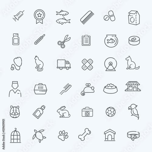 Outline web icon set - pet, vet, pet shop, types of pets Fototapete