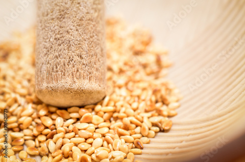 Selective focus on the roasted sesame seeds in Japanese blow