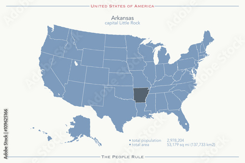 United States of America isolated map and Arkansas state territory ...