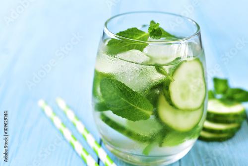 Homemade cucumber and mint lemonade.