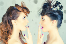 Absolutely Gorgeous Twins Girls With Fashion Make-up And Hairstyle