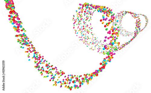 Poster Spiraal Perspektivische Darstellung einer Spirale aus bunten Kügelchen auf weißem Hintergrund – freigestellt