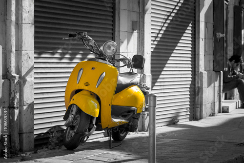 Scooter Retro scooter in the old town of Limassol. Cyprus