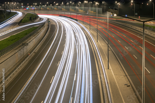 Fototapeta Speed lines on the highway in Warsaw obraz