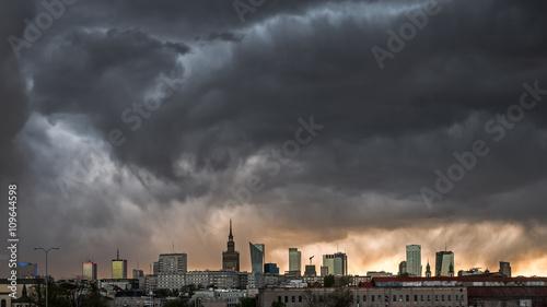 fototapeta na szkło Storm clouds over center of Warsaw