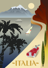 Summer Road To The Sea. The Lake Shore, The Mountains. Holiday On The French Riviera, Liguria. Poster In The Art Deco Style.