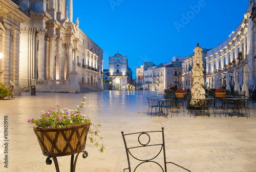The dom square of Ortigia, the old Syracuse, at dusk