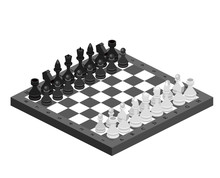 Isometric Chess Pieces With Bo...