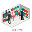 isometric infographic.Flat interior of luggage shop.