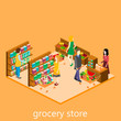 Isometric intireor of grocery store. Shopping mall flat 3d isometric concept web vector illustration.
