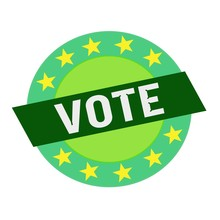Vote White Wording On Green Rectangle And Circle Green Stars
