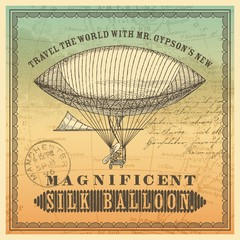 vintage travel themed label/background with dirigible