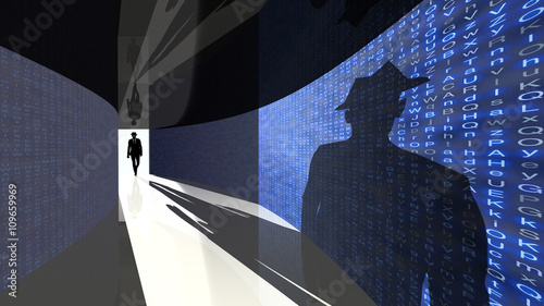 Fotomural  Elite hacker enters the data hallway