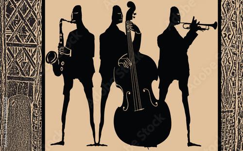 Jazz band in ethnic style design