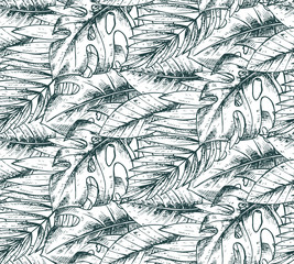 Fototapeta Liście Seamless pattern with hand drawn tropical plants