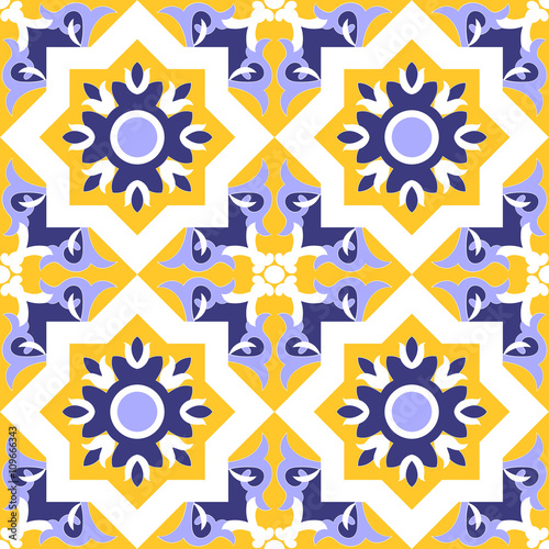 Ornamental pattern vector seamless blue, yellow and white color. Tile pattern - azulejo, portuguese tiles, spanish, moroccan, talavera, turkish or arabic tiles design with flowers motifs.