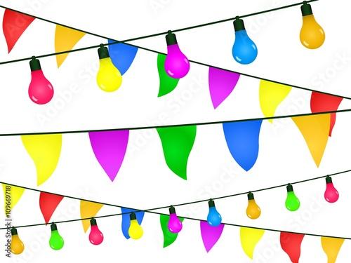 Valokuva  Guirlandes, fanions et ampoules multicolores