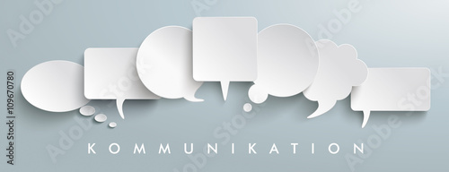 Fototapeta White Paper Speech Balloons Kommunication Header obraz