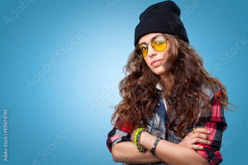 01ce720f686 Cute hipster girl with long curly hair wearing red checkered shirt ...