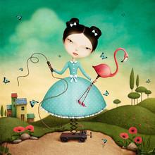 Conceptual Illustration Of  Mechanical Girl And Flamingos