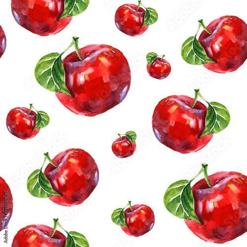 akwarela-lato-izolowane-czerwone-jablko-wzor