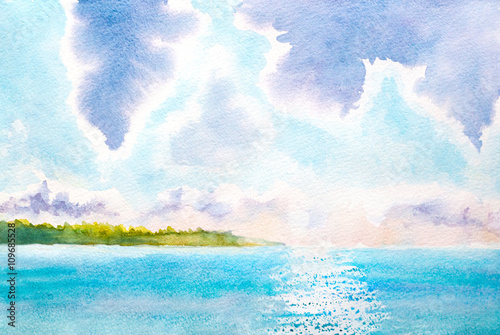 Foto op Canvas Lichtblauw hand painted watercolor landscape with lake, sunlight, clouds