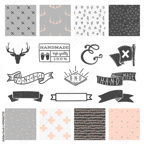 Set of 8 hipster hand drawn doodle seamless pattern and design elements