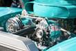 Leinwandbild Motiv turquoise engine bay