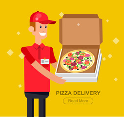 Obraz na Szkle Do pizzerii cartoon pizza delivery guy