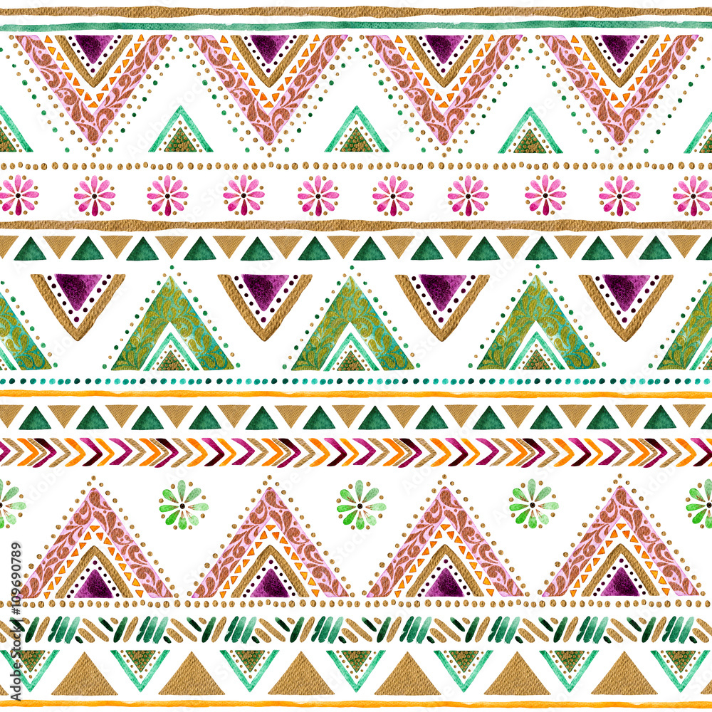 Colorful gold-green-purple handpainted backdrop.Arabic,Indian decorative watercolor texture.Boho elements.Striped gold style pattern background with design,stripes,triangles,ornaments,point and more