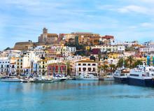 Colorful Ibiza Old Town Buildi...