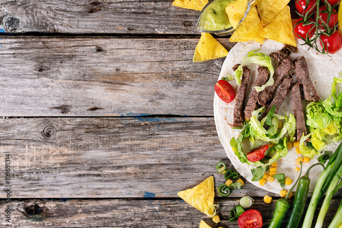 Food background with tortilla ingredients Canvas Print