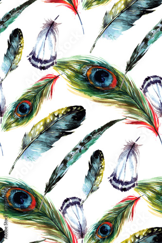 Cotton fabric Watercolor feathers seamless pattern