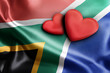 canvas print picture - Love South Africa. Two hearts on the flag.