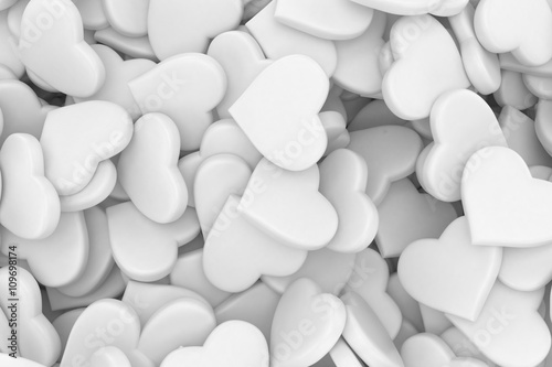 background made from many hearts. 3d rendering.