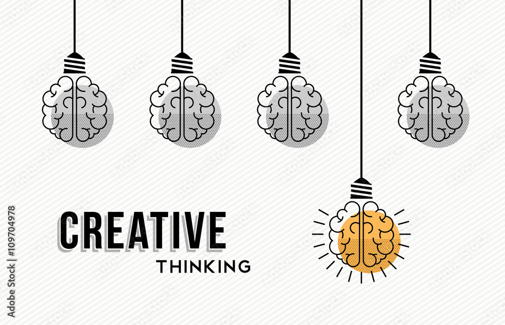 Fototapety, obrazy: Creative thinking concept design with human brains