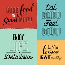 Retro Food Quote Designs Set O...
