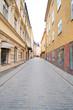 Stockholm, Sweden - March, 16, 2016: landscape with the image of Old Town street in Stockholm, Sweden