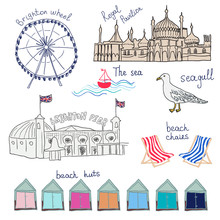 Set Of Hand Drawn Doodles Of Brighton, England